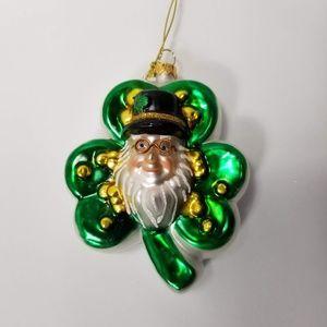 Other - Irish Leprechaun Shamrock Blown Glass Xmas Ornamen